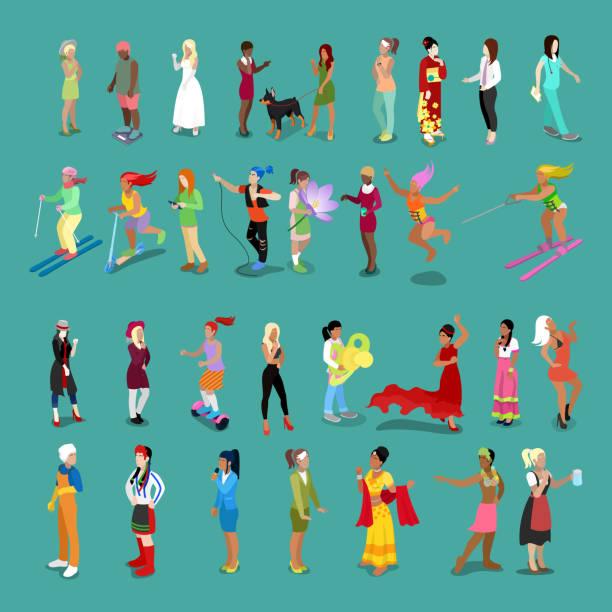 illustrations, cliparts, dessins animés et icônes de ensemble de personnes isométrique de femmes. personnages féminins dans différentes poses et professions - femmes actives