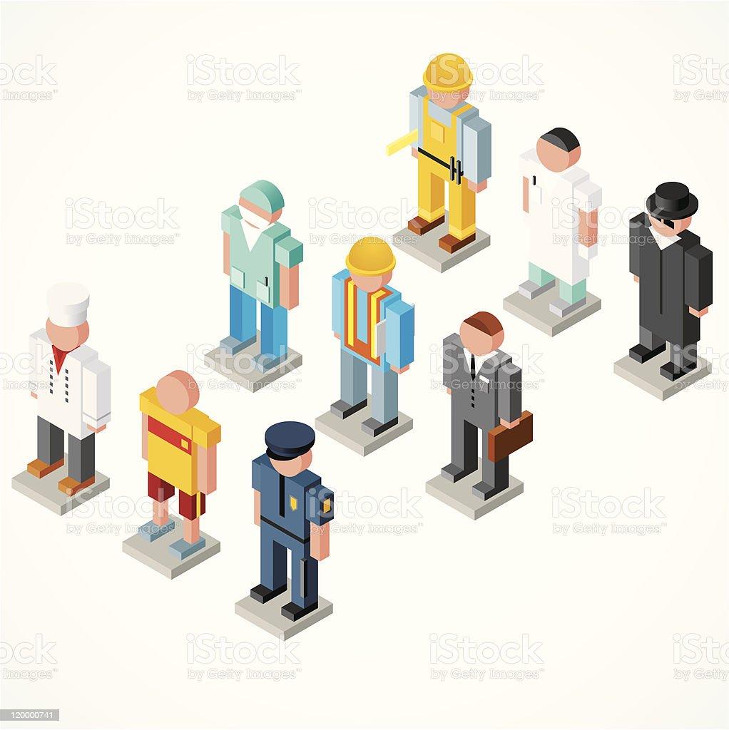 Isometric povos - ilustração de arte em vetor