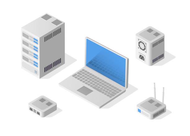 stockillustraties, clipart, cartoons en iconen met isometrische personal computer - netwerkserver