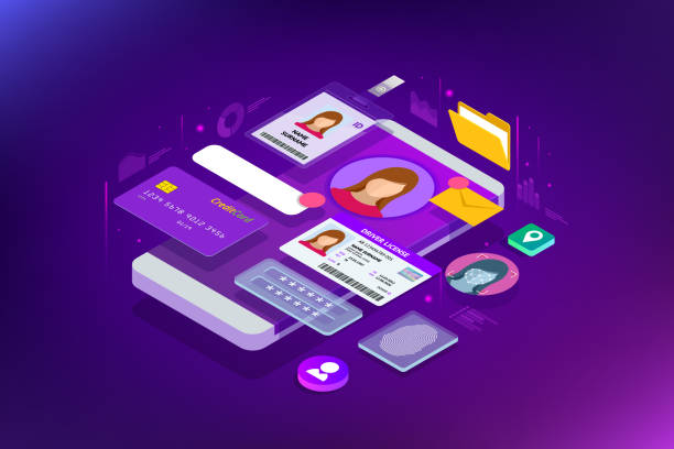 Isometric Personal Data Information App, Identity Private Concept. Digital data Secure Banner. Biometrics technology vector illustration for personal identity recognition and access authentication. Isometric Personal Data Information App, Identity Private Concept. Digital data Secure Banner. Biometrics technology vector illustration for personal identity recognition and access authentication privacy stock illustrations