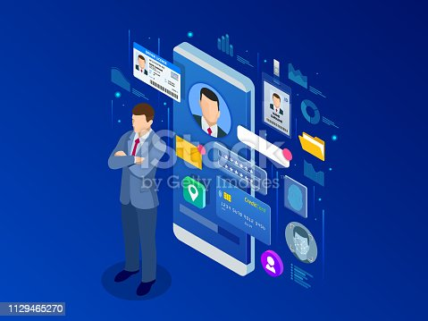 Isometric Personal Data Information App, Identity Private Concept. Digital data Secure Banner. Biometrics technology vector illustration for personal identity recognition and access authentication