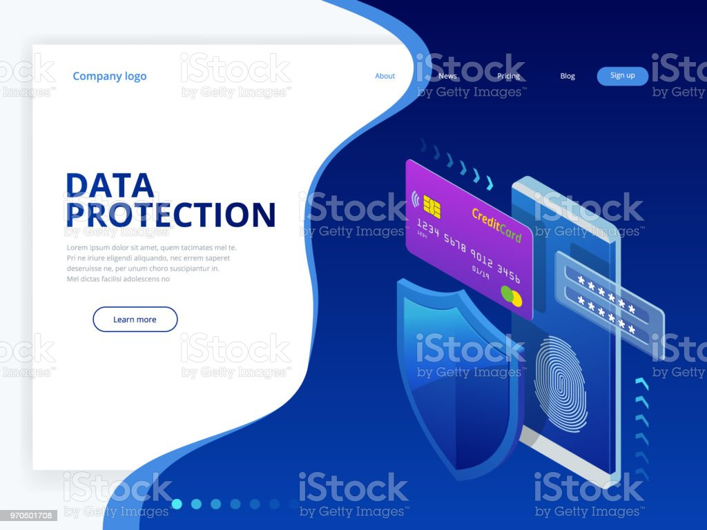 Isometric Personal Data Protection Web Banner Concept Cyber Security Encryption And Privacy Traffic