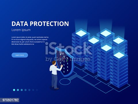 Isometric personal data protection web banner concept. Cyber security and privacy. Traffic Encryption, VPN, Privacy Protection Antivirus. Vector illustration