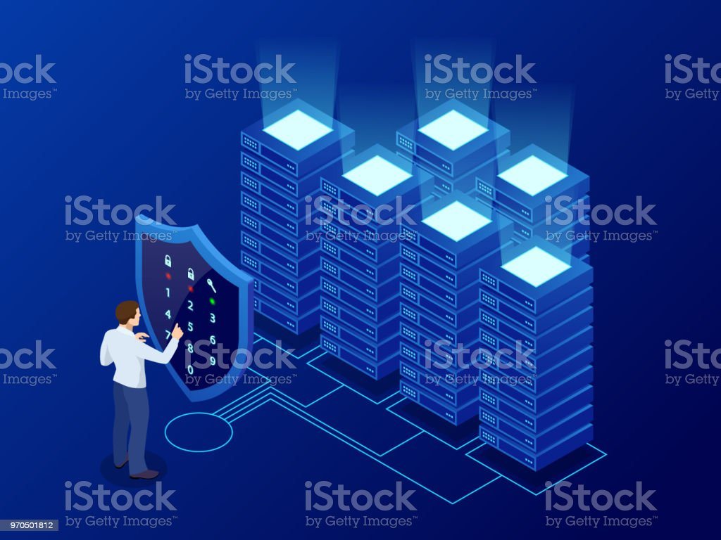 Isometric Personal Data Protection Web Banner Concept Cyber Security And Privacy Traffic Encryption