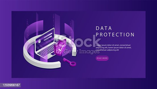 Isometric Personal Data Protection Web Banner Concept. Landing Page Template. Cyber Security and Privacy. Traffic Encryption, VPN, Privacy Protection Antivirus. Vector illustration.