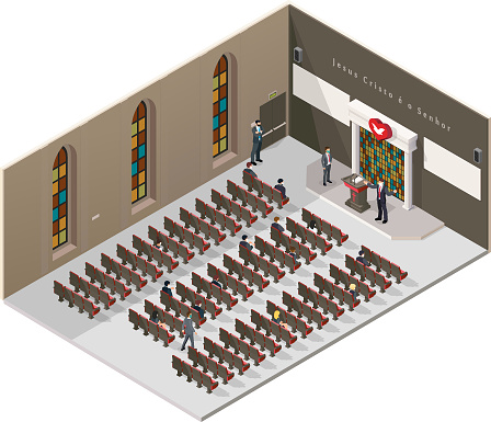 Isometric perspective of the universal church of the kingdom of God inside, health care with the use of masks, alcohol gel, without agromeration, accents with social distancing