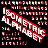 Three dimensional isometric alphabet, numbers and punctuation in vector