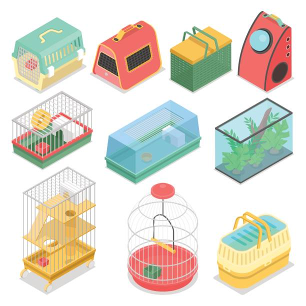 isometrische transportboxen mit aquarium - hamsterhaus stock-grafiken, -clipart, -cartoons und -symbole