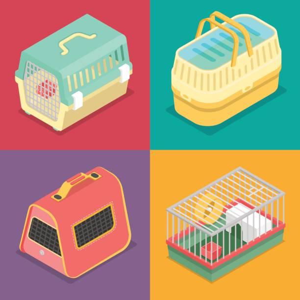isometrische transportboxen mit bewegliches haus - hamsterhaus stock-grafiken, -clipart, -cartoons und -symbole