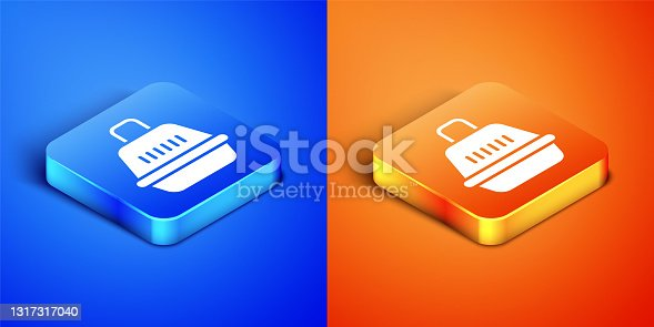 istock Isometric Pet carry case icon isolated on blue and orange background. Carrier for animals, dog and cat. Container for animals. Animal transport box. Square button. Vector 1317317040