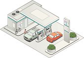 Gas station in in isometric view, with cars and people.