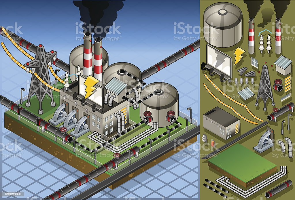 isometric petroleum plant in production of energy royalty-free stock vector art