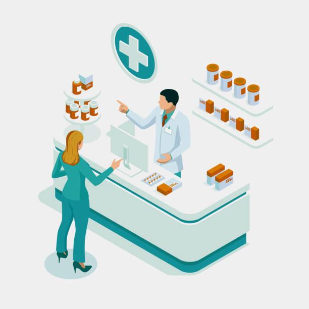 illustrazioni stock, clip art, cartoni animati e icone di tendenza di negozio di farmacia isometrica e medico farmacista e paziente. farmacista donna in possesso di prescrizione che controlla il medicinale in farmacia. concetto di assistenza sanitaria. - farmacia