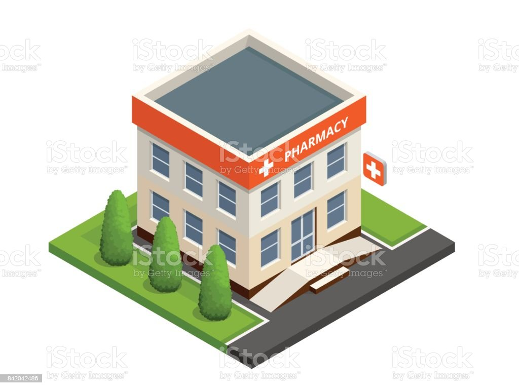 Isometric pharmacy store. Facade of pharmacy in the urban space, the sale of drugs and pills. vector art illustration