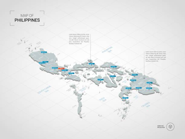 stockillustraties, clipart, cartoons en iconen met isometrische filipijnen kaart met plaatsnamen en bestuurlijke indeling. - filipijnen
