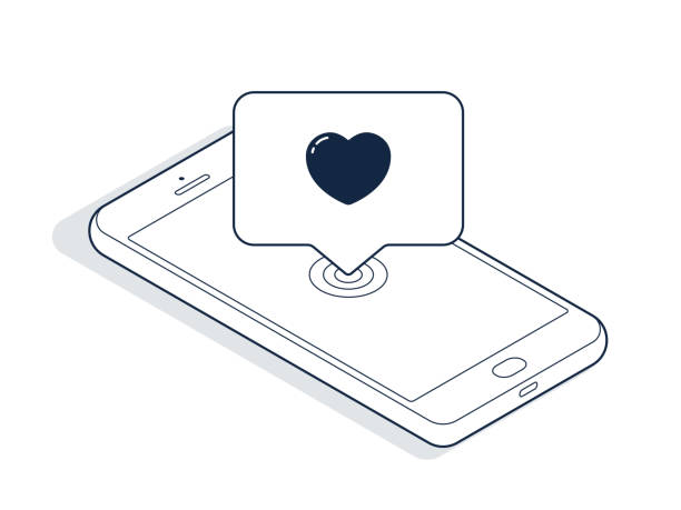 Isometric phone and banner with heart isolated on white background. Isometric line art. Vector Isometric phone and banner with heart isolated on white background. Isometric line art. Vector online dating stock illustrations