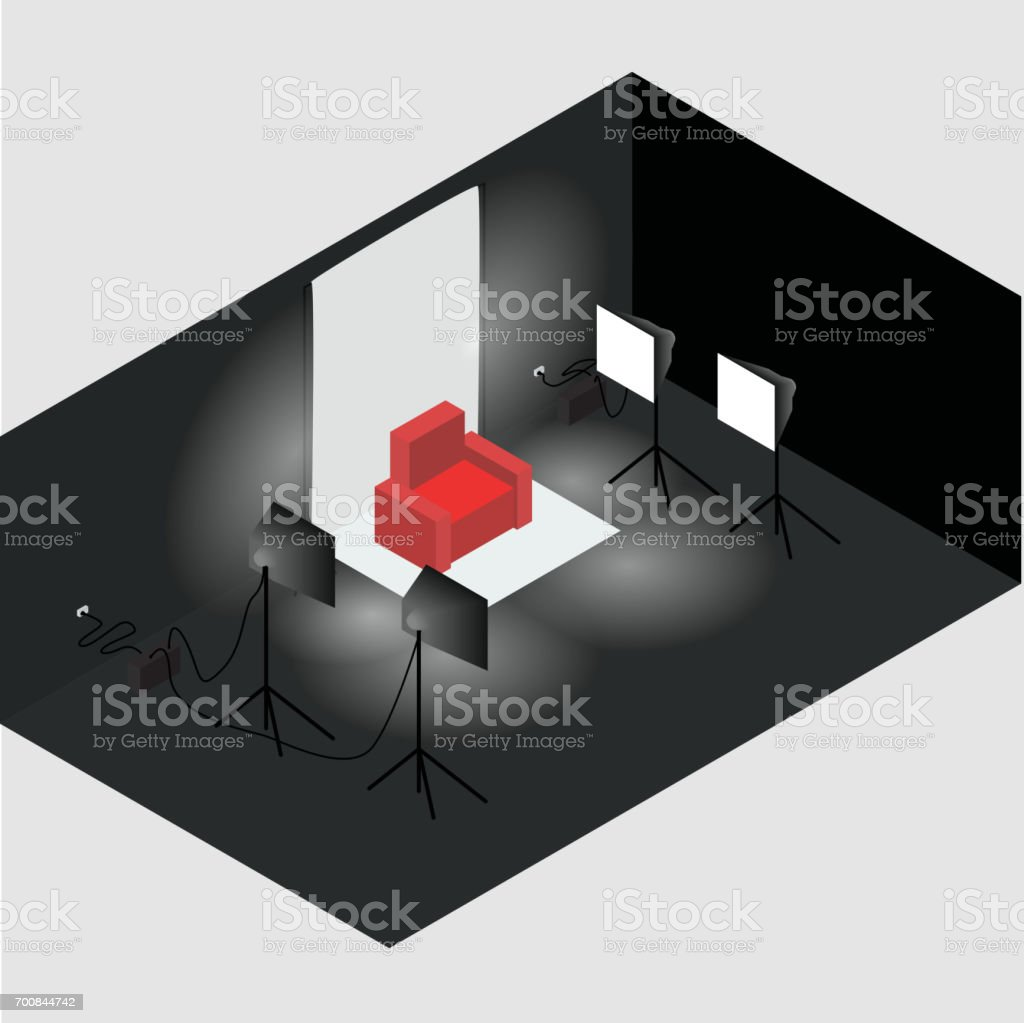 Isometric photo studio room interior with workplace, equipment and professional lighting. All objects are isolated. векторная иллюстрация