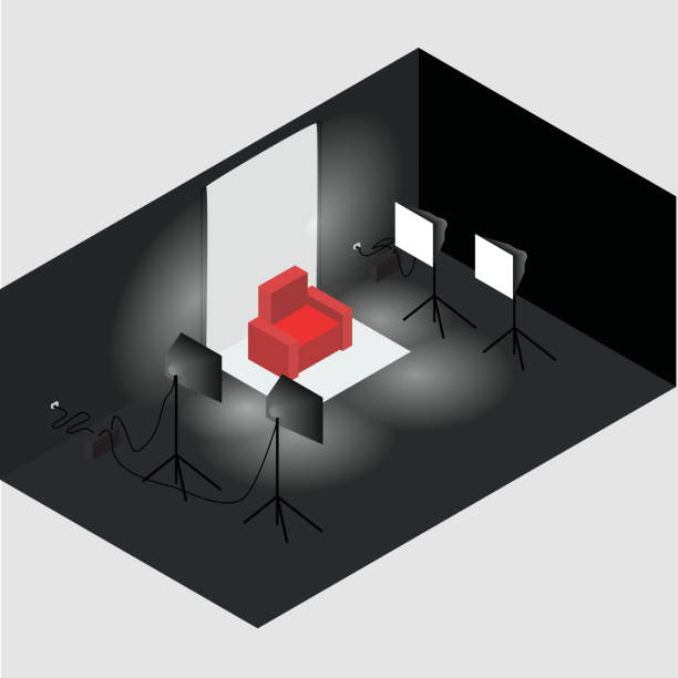 Bекторная иллюстрация Isometric photo studio room interior with workplace, equipment and professional lighting. All objects are isolated.