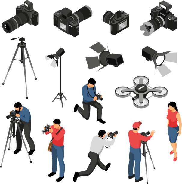等角フォトグラファーセット - カメラ点のイラスト素材/クリップアート素材/マンガ素材/アイコン素材