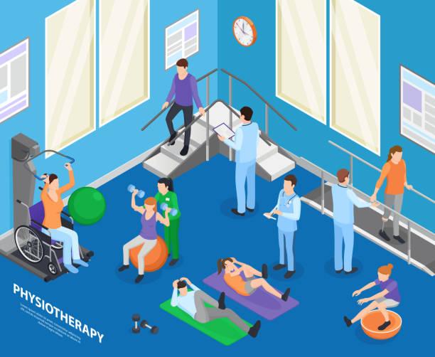 изометрическая физиотерапевтическая иллюстрация - physical therapy stock illustrations
