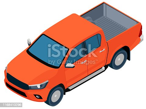Orange colored truck in vector