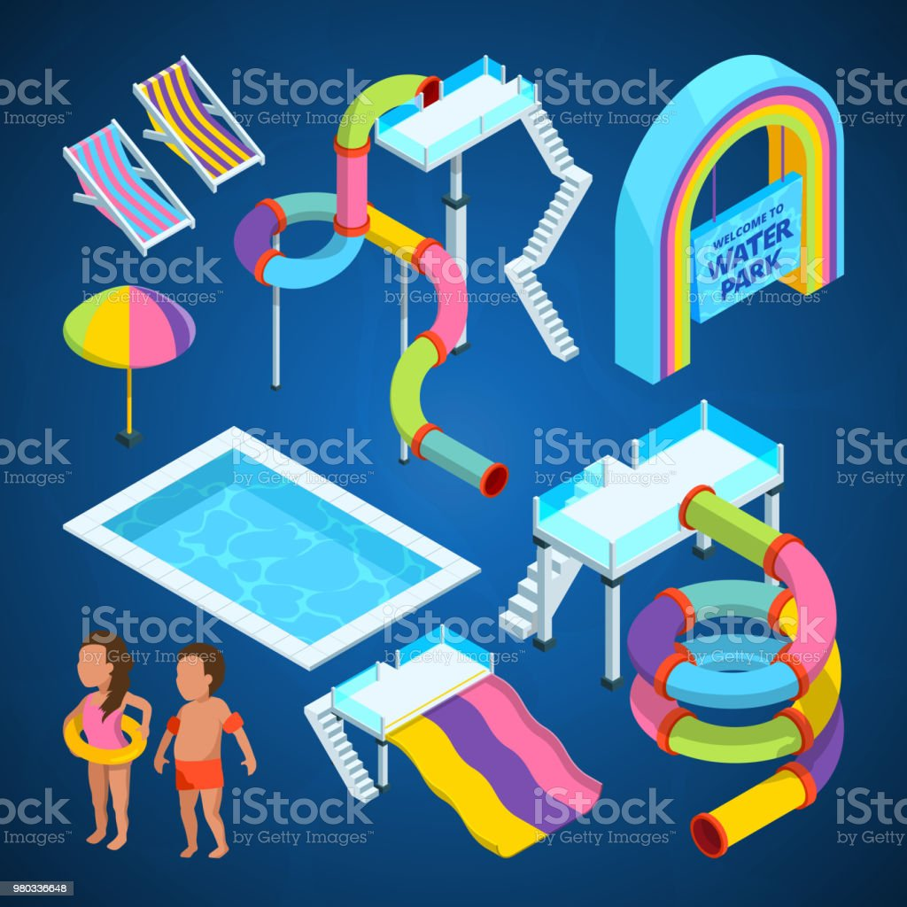 Isometric pictures of water park. Various attractions at swimming pools vector art illustration