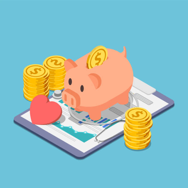 Isometric piggy bank and stethoscope with piles of coins Flat 3d isometric piggy bank and stethoscope with piles of coins. Financial health and health insurance concept. piggy bank stock illustrations