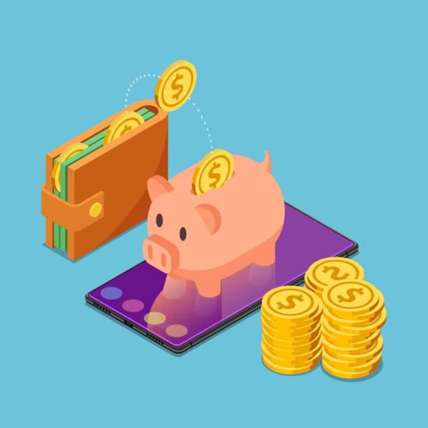 ilustrações de stock, clip art, desenhos animados e ícones de isometric piggy bank on smartphone with wallet and dollar coins - save money