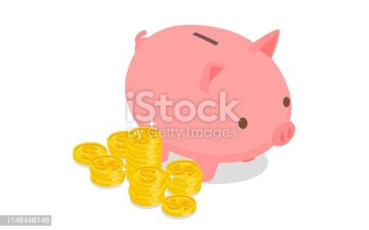 istock Isometric piggy bank 1146446145