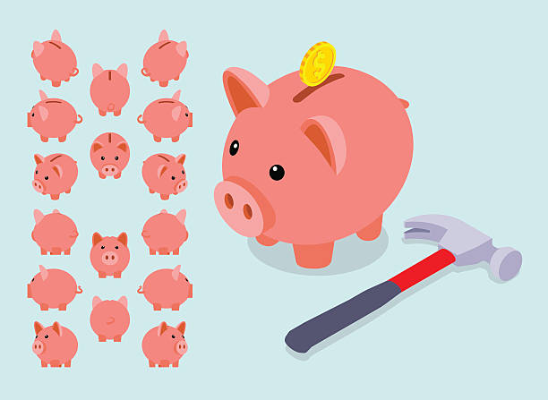 Isometric piggy bank Isometric piggy bank. Set of the piggy moneyboxes. The objects are isolated against the light-blue background and shown from different sides piggy bank stock illustrations