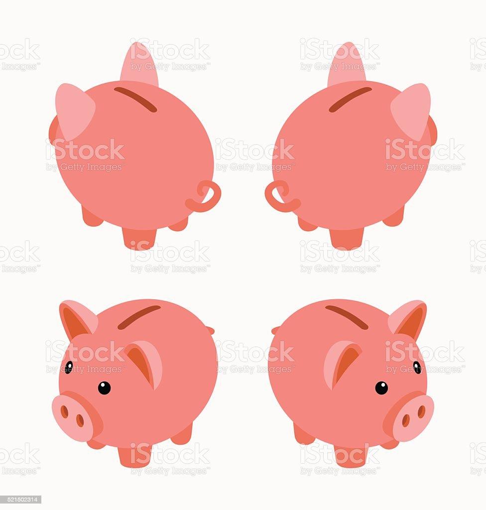 Isometric piggy bank vector art illustration
