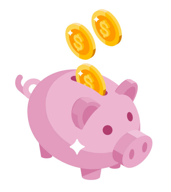 Isometric piggy bank. Coin drop in bank. piggy bank stock illustrations
