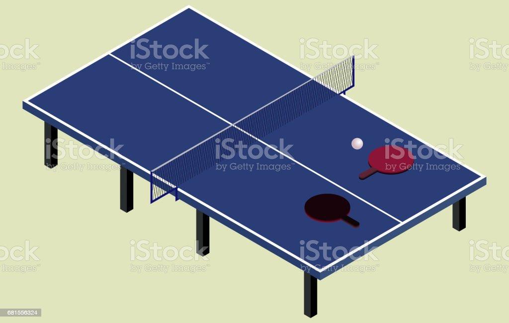 Isometrische Blau Tennis Tischtennis Stock Vektor Art und