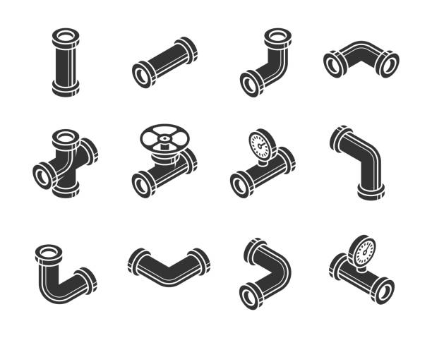 Isometric Pipes, Fittings, Valve and Meters Vector Icon Set in Glyph Style vector art illustration