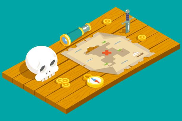 ilustrações de stock, clip art, desenhos animados e ícones de minibarra de ferramentas do tesouro pirata jogo de aventura rpg mapa acção cortante adaga - enjoying wealthy life