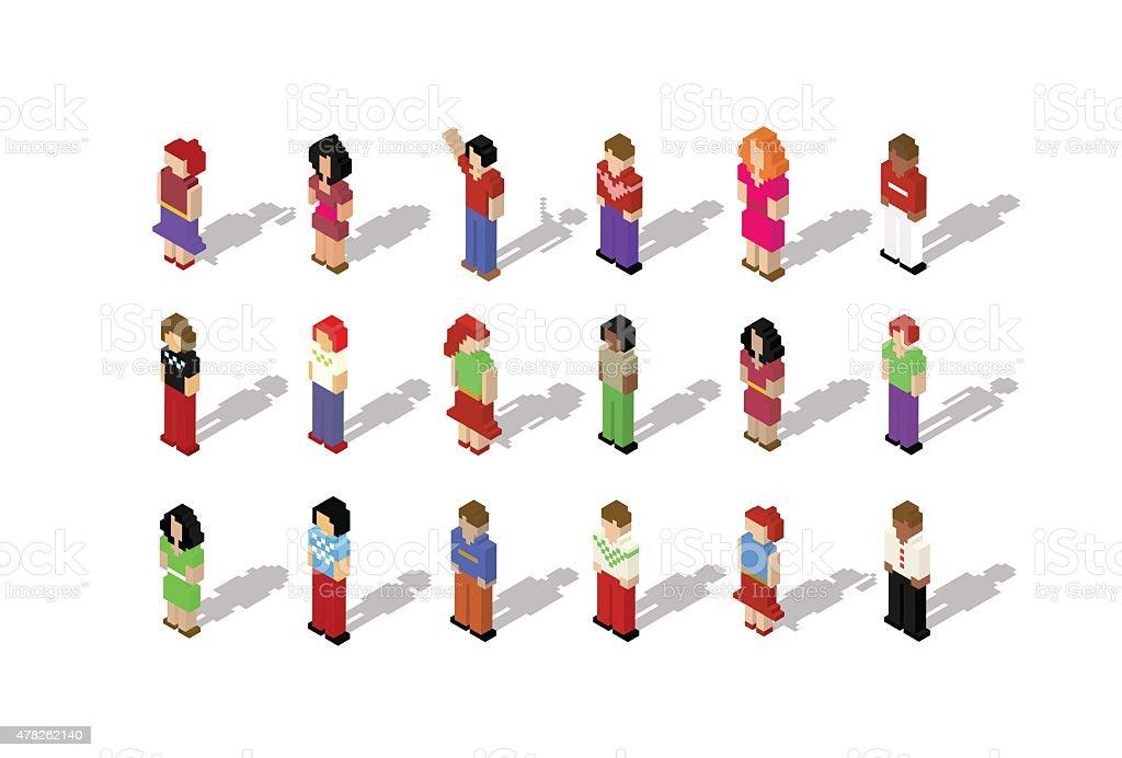 Isometric pixel people set illustration vektör sanat illüstrasyonu