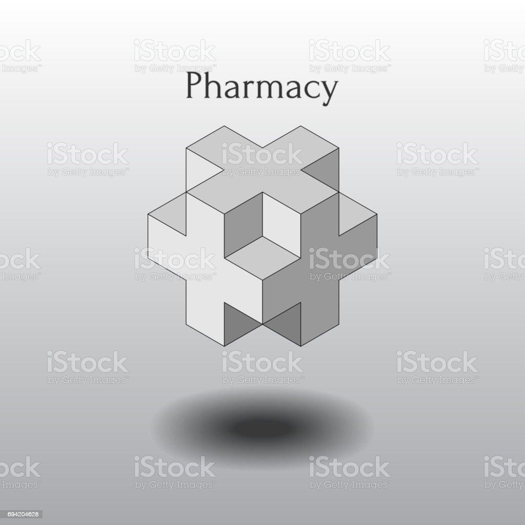 isometrische plus, vectorelement logovectorkunst illustratie