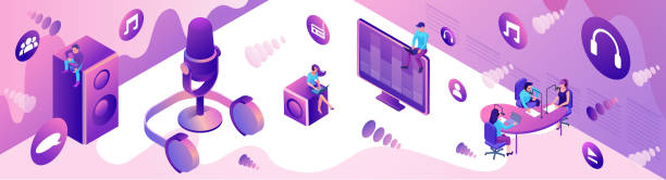 Isometric podcast horizontal banner, modern music radio show, audio blog concept, isometric 3d illustration, vector landing page template with people, microphone,violet sound studio interior vector art illustration