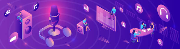 Isometric podcast horizontal banner, modern music radio show, audio blog concept, isometric 3d illustration, vector landing page template with people, microphone, glowing violet sound studio interior Isometric podcast horizontal banner, modern music radio show, audio blog concept, isometric 3d illustration, vector landing page template with people, microphone, glowing violet sound studio interior multimedia stock illustrations