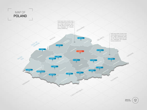 isometric poland map with city names and administrative divisions. - polska stock illustrations