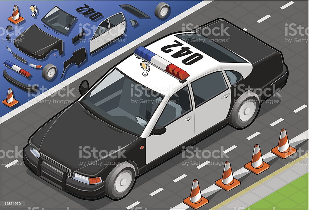 Isometric Police Car in Front View royalty-free stock vector art