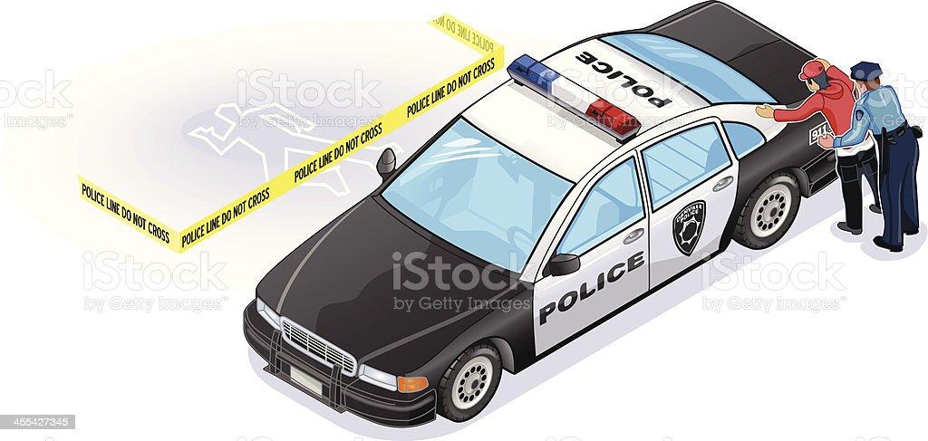 Isometric Police Car vector art illustration