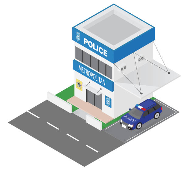 illustrations, cliparts, dessins animés et icônes de icône de l'édifice du ministère de la police isométrique - commissariat