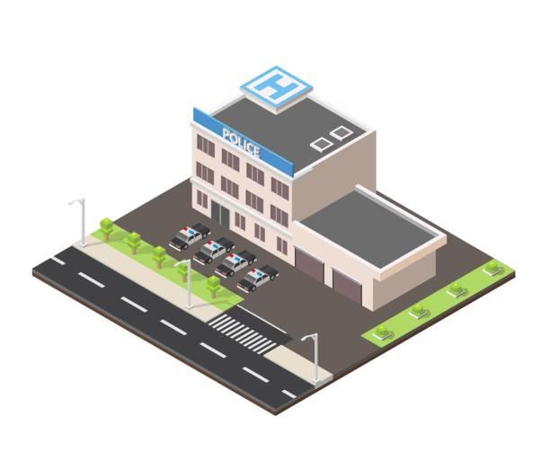 illustrations, cliparts, dessins animés et icônes de bâtiment basse poly isométrique police station - commissariat