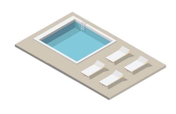 isometrische pool und schwimmen isoliert vektor illustration elemente - gartensofa stock-grafiken, -clipart, -cartoons und -symbole