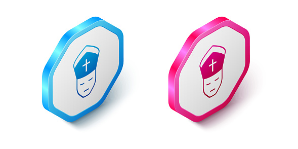 Isometric Pope icon isolated on white background. Pope hat. Holy father. Hexagon button. Vector