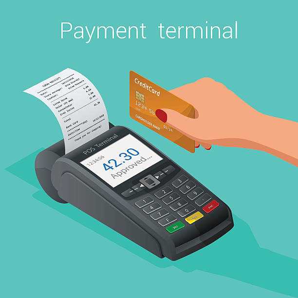 isometric pos terminal confirms the payment by debit credit card - addierrolle stock-grafiken, -clipart, -cartoons und -symbole