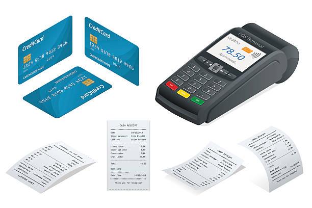 Isometric POS Terminal, debit credit card, Sales printed receipt. vektör sanat illüstrasyonu
