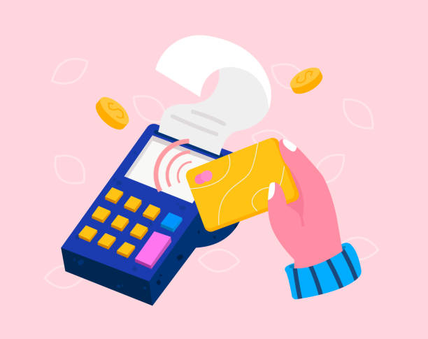 isometric pos terminal with hand holding bank debit or credit card. contactless payment concept, point of sale payment machine, nfc chip technology. colorful modern vector illustration - credit card stock illustrations