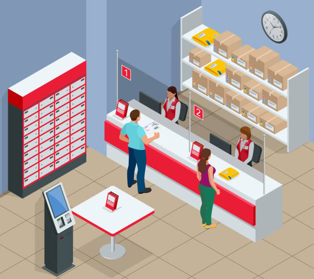 isometric post office concept. young man and woman waiting for a parcel in a post office. correspondence isolated vector illustration - postal worker stock illustrations